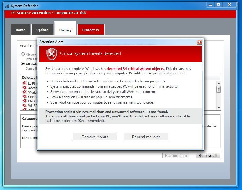 Malware Defender 2015 fake alert