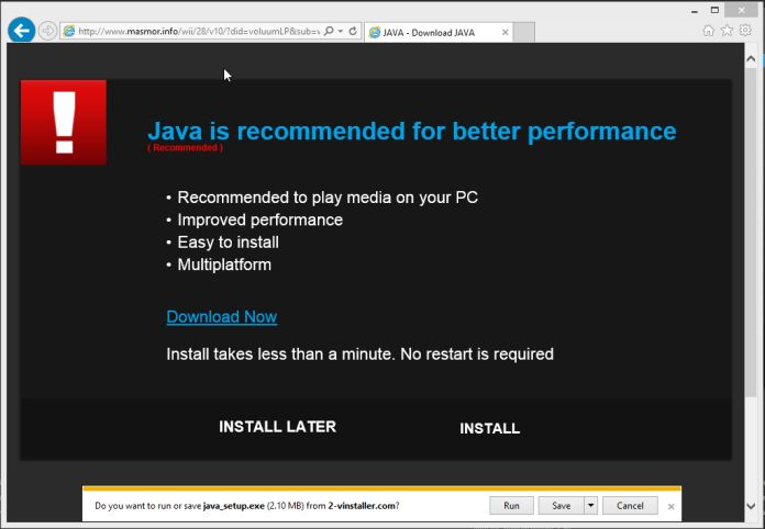 Remove Java is recommended for better performance virus