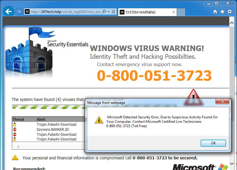 Tech Support Scam pop-up virus