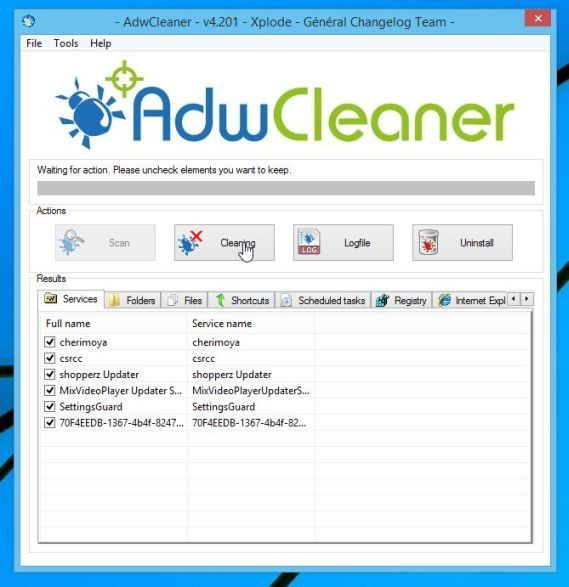 Remove SearchFly toolbar with AdwCleaner