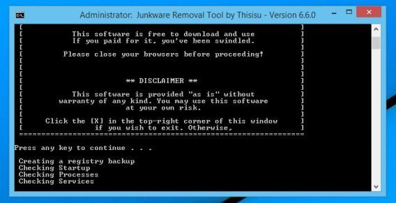 Junkware Removal Tool scanning for browser hijackers