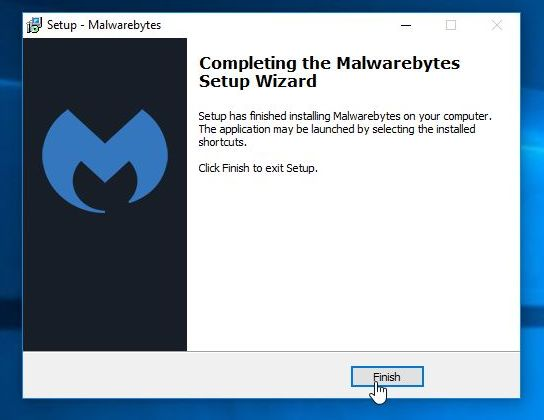 Malwarebytes Anti-Malware final screen