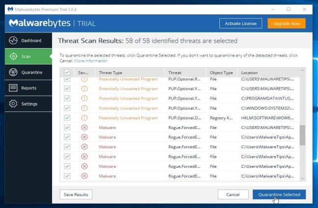Remove the malware that Malwarebytes Anti-Malware has detected