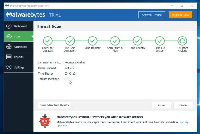 Malwarebytes Anti-Malware Scanning for Default Tab