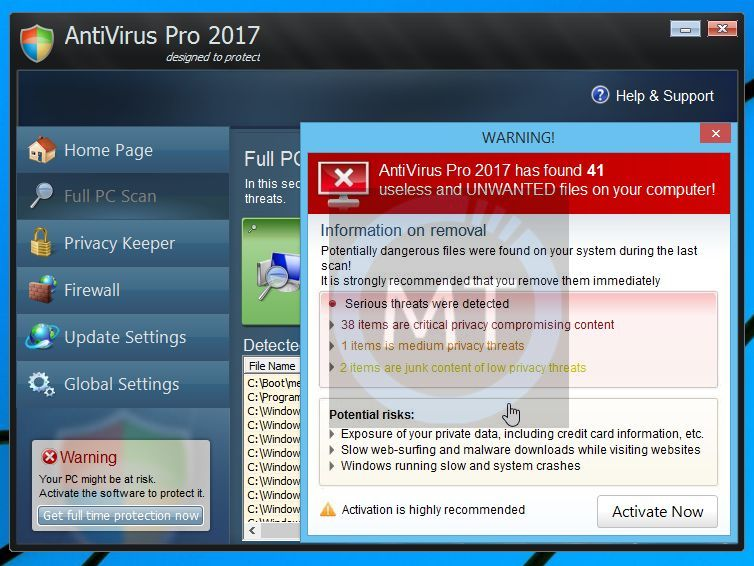 Antivirus Pro 2017 Warning Pop-up
