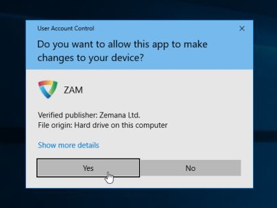 Zemana AntiMalware User Account Control