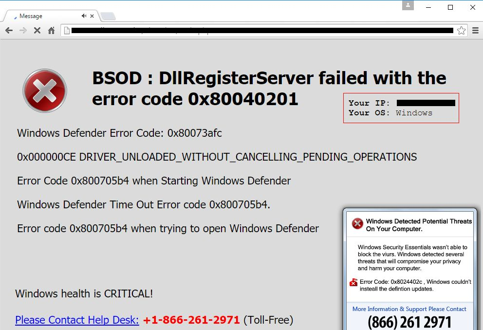 BSOD DllRegisterServer failed virus