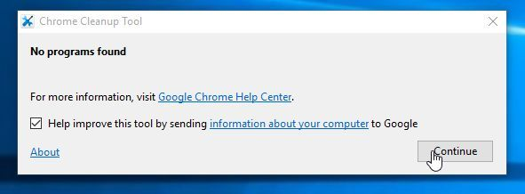 Chrome Cleanup Tool detecting adware