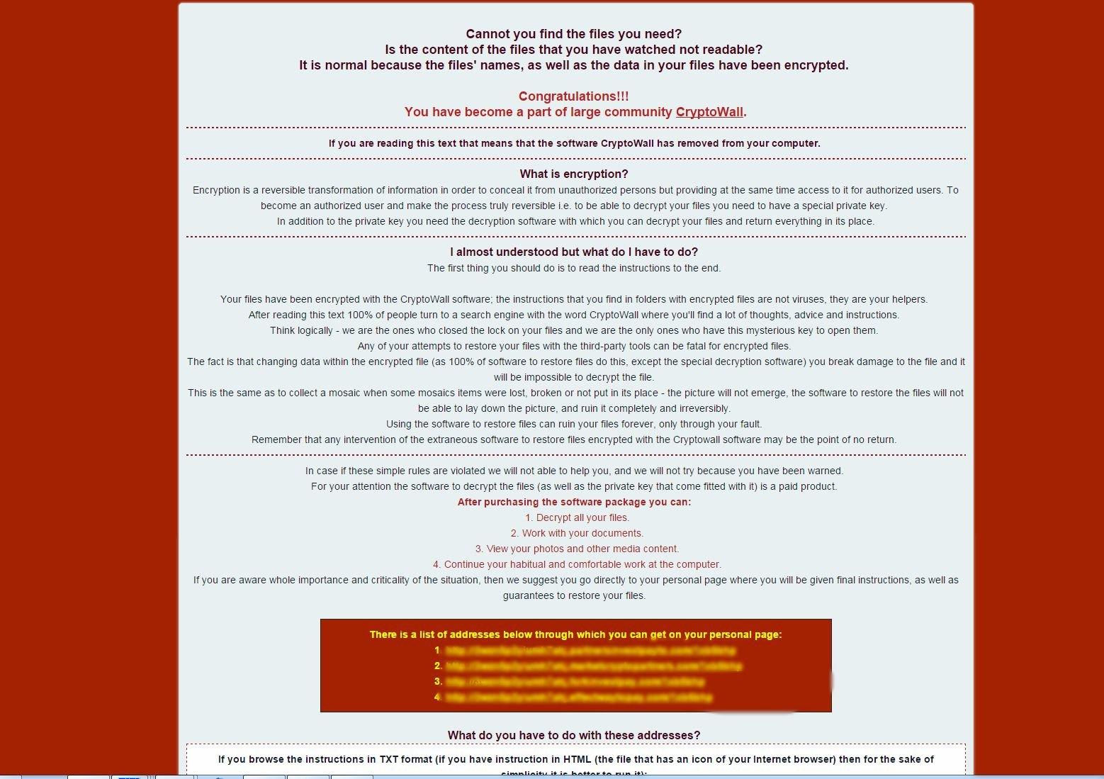 Cryptowall 40 Virus