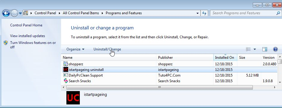Remove Istartpageing from Windows