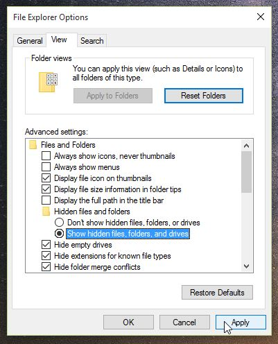 Show hidden files, folders and drives in Windows 7