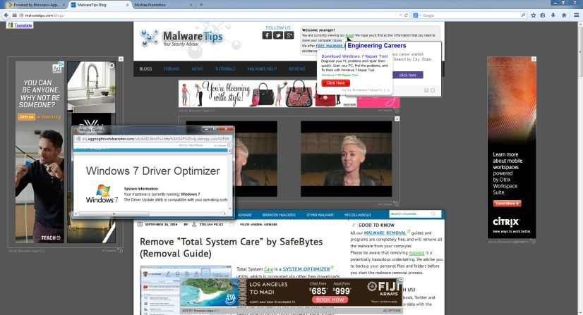 Ads By SafeSoft Protector adware
