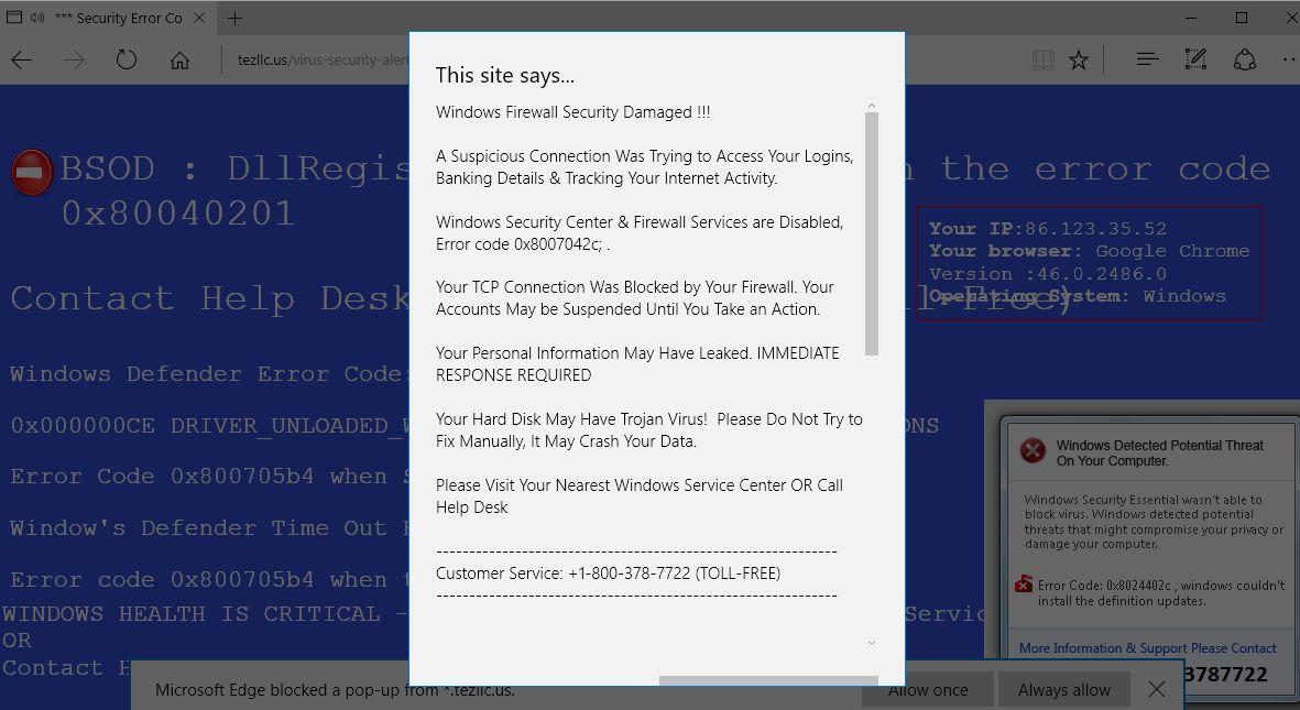 Remove Tezllc.us pop-up virus (Microsoft Support Scam)