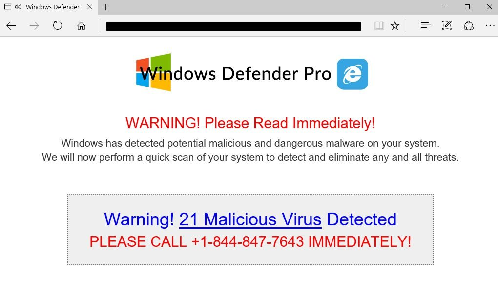 Windows Defender Pro Support Scam