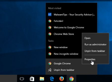 Chrome Properties in Taskbar