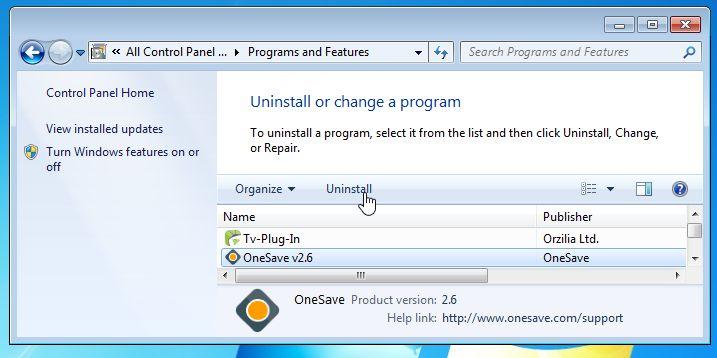 OneSave v2.6 Removal