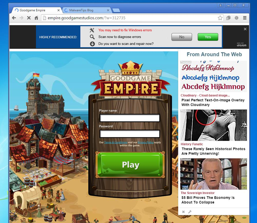 From Around The Web Ads on right of browser