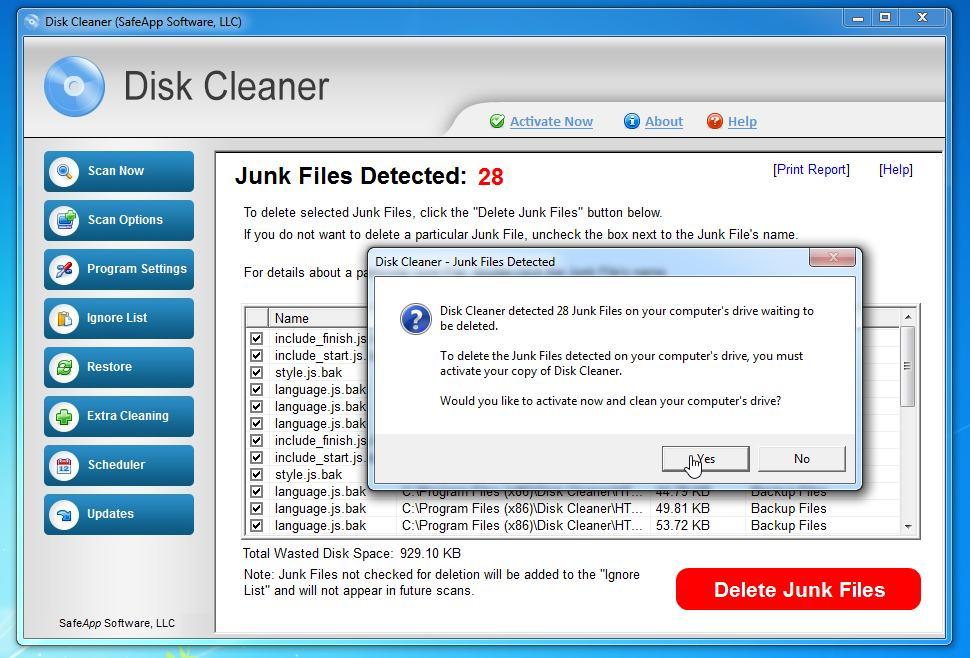 Disk Cleaner (SafeApp Software, LLC) pop-up