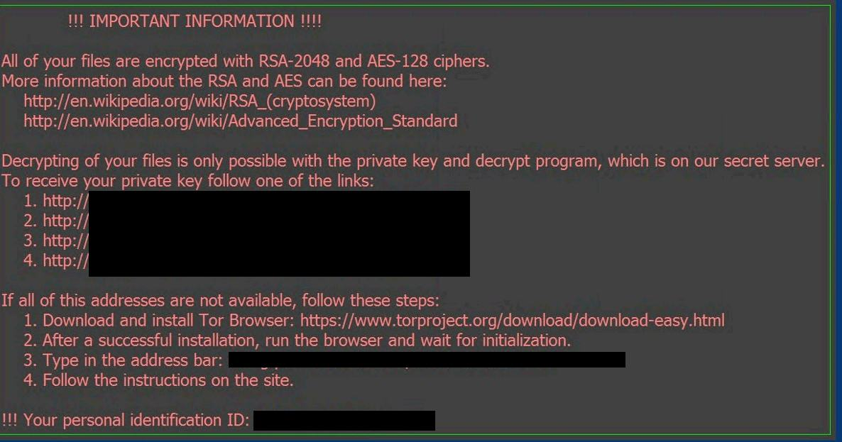 Locky Ransomware Note