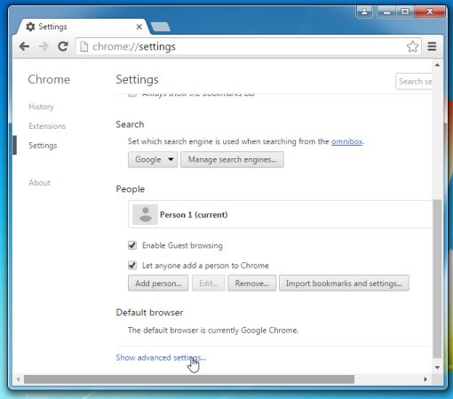 Advanced settings Google Chrome