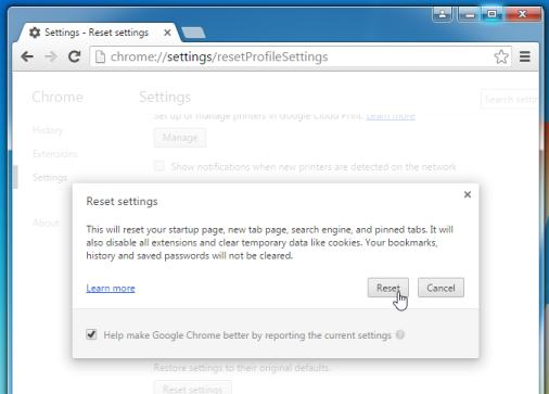 Restore Google Chrome to default settings