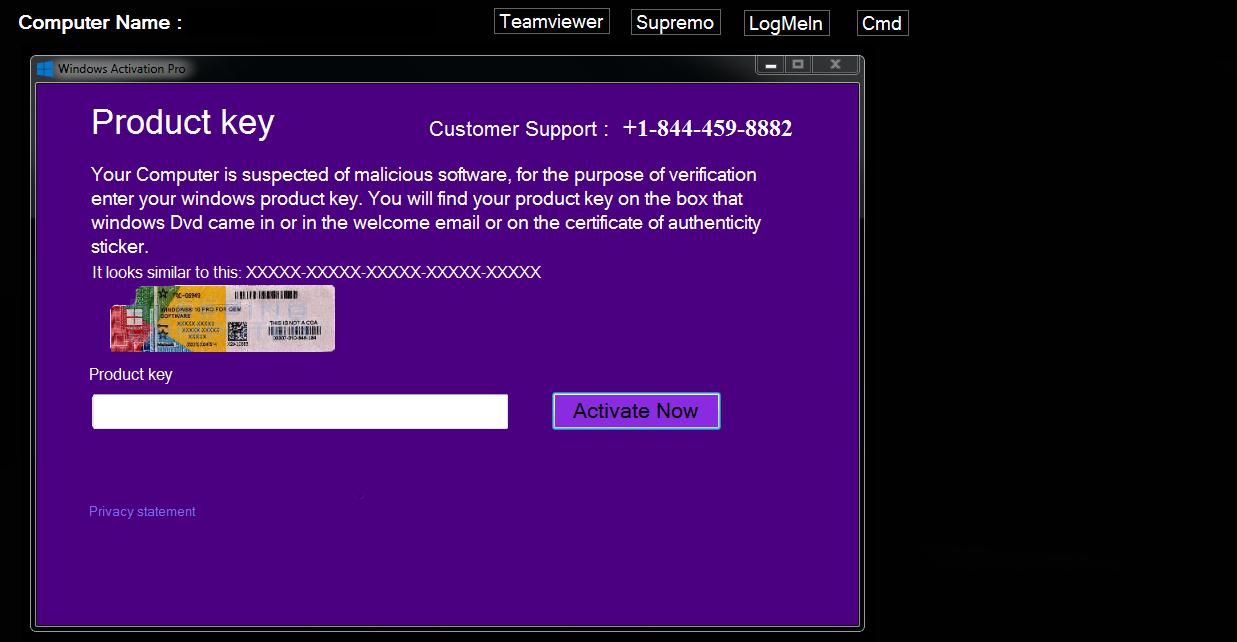 Fake Windows Product Key virus