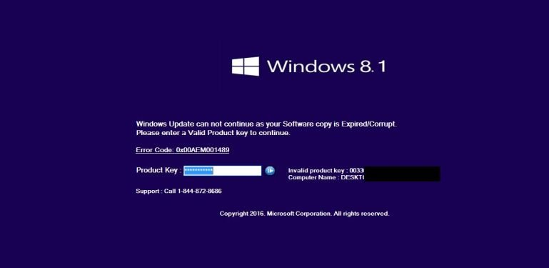 "Remove ""Windows: Software copy is Expired/Corrupt"" virus (Support Scam)"