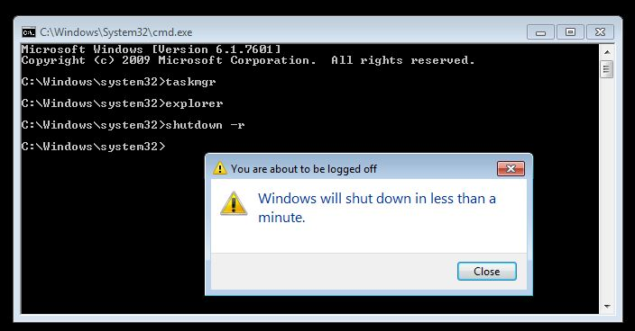 Type shutdown -r in Command Prompt