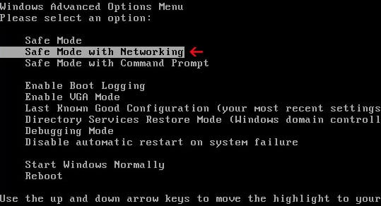 Safe Mode with Networking screen