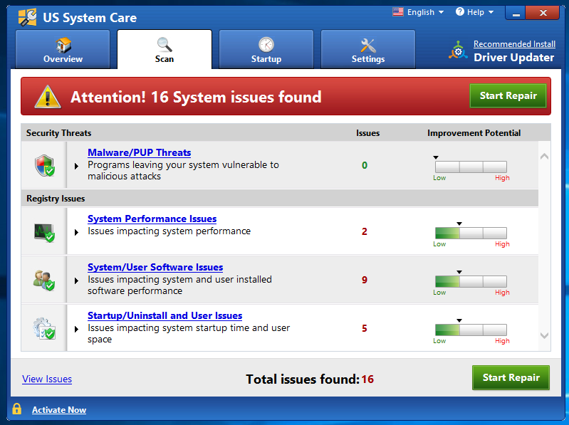 US System Care adware