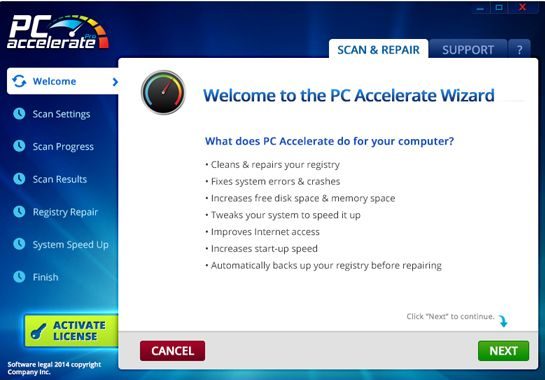 PC Accelerate Pro virus