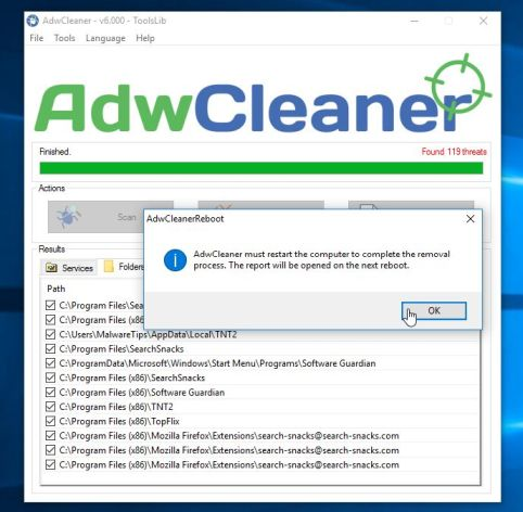 AdwCleaner Restart PC