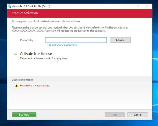 Activate HitmanPro to remove Conduit Search redirect browser hijacker