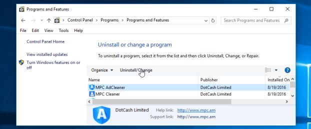 Uninstall MPC Cleaner