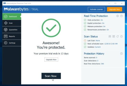 Start a scan with Malwarebytes scan
