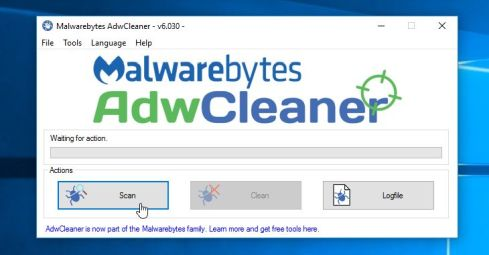 Scan Windows 10 with Malwarebytes AdwCleaner to remove adware