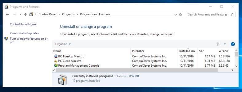 Uninstall PC TuneUp Maestro from Windows