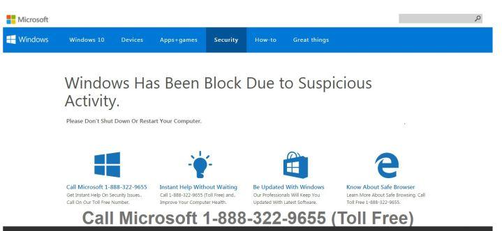 Windows has been block due to suspicious activity Virus