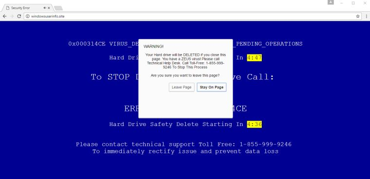 Your Hard Drive Will Be Deleted If you Close This Page Scam Virus