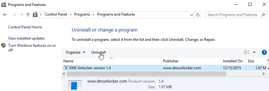 Uninstall DNS Unlocker version 1.4