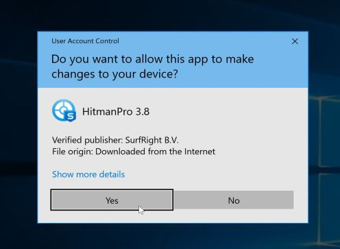 HitmanPro User Account Control Pop-up