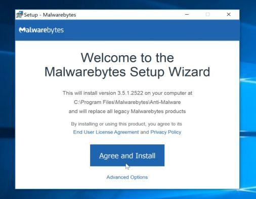 Setup Malwarebytes installer