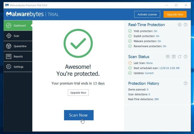 Perform a system scan with Malwarebytes