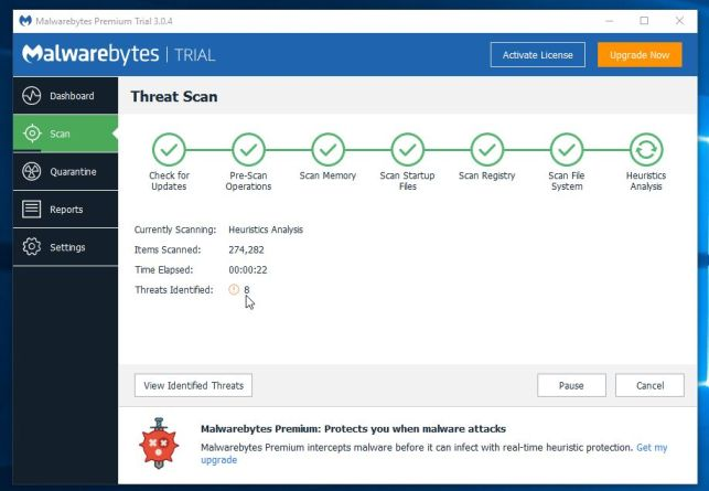 Malwarebytes scanning for malware