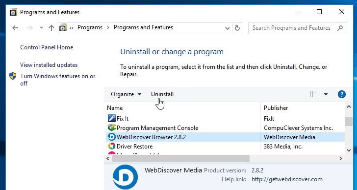 Uninstall WebDiscover Browser from Windows