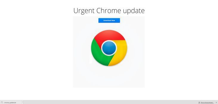 Fake Urgent Chrome Update virus