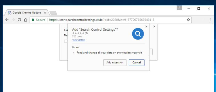 Search Control Settings Chrome extension virus