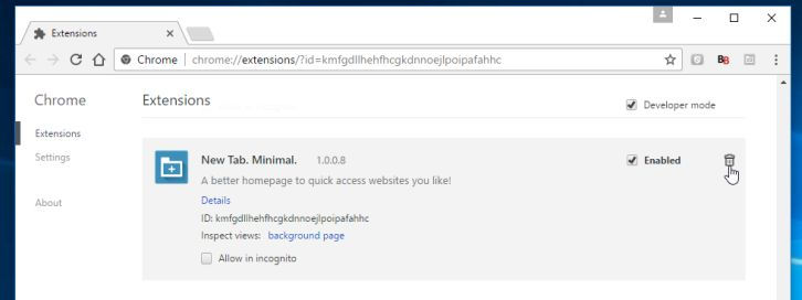 Remove New Tab Minimal extension (Chrome, Firefox, IE and Edge)