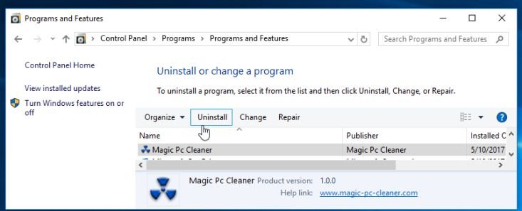Uninstall Magic PC Cleaner