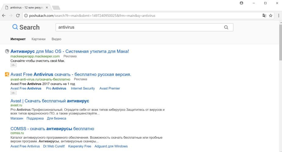 Poshukach.com redirect virus